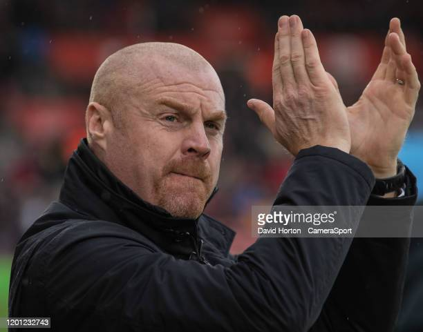 Burnley manager Sean Dyche during the Premier League match between Southampton FC and Burnley FC at St Mary's Stadium on February 15 2020 in...
