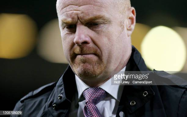 Burnley manager Sean Dyche during the Premier League match between Burnley FC and Tottenham Hotspur at Turf Moor on March 7 2020 in Burnley United...