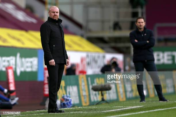 Burnley manager Sean Dyche during the Premier League match between Burnley and Chelsea at Turf Moor Burnley on Saturday 31st October 2020