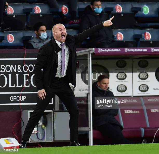 Burnley manager Sean Dyche during the Premier League match between Burnley and Liverpool at Turf Moor on May 19, 2021 in Burnley, England.