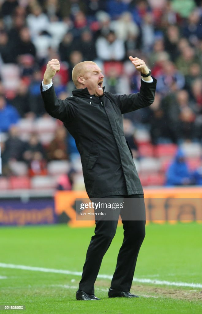 Burnley manager Sean Dyche during the Premier League match between Sunderland and Burnley at Stadium of Light on March 18, 2017 in Sunderland, England.