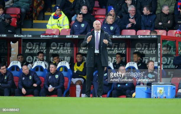 Burnley manager Sean Dyche during the Premier League match between Crystal Palace and Burnley at Selhurst Park on January 13 2018 in London England