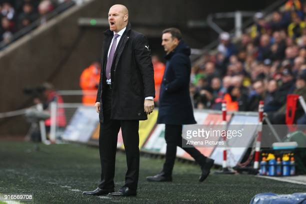 Burnley manager Sean Dyche during the Premier League match between Swansea City and Burnley at the Liberty Stadium on February 10 2018 in Swansea...