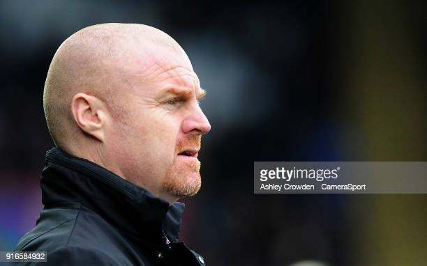 Burnley manager Sean Dyche during the Premier League match between Swansea City and Burnley at Liberty Stadium on February 10 2018 in Swansea Wales