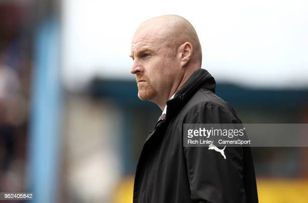 Burnley manager Sean Dyche during the Premier League match between Burnley and Brighton and Hove Albion at Turf Moor on April 28 2018 in Burnley...