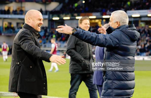 Burnley manager Sean Dyche greets Tottenham Hotspur manager Jose Mourinho ahead go kickoff during the Premier League match between Burnley FC and...