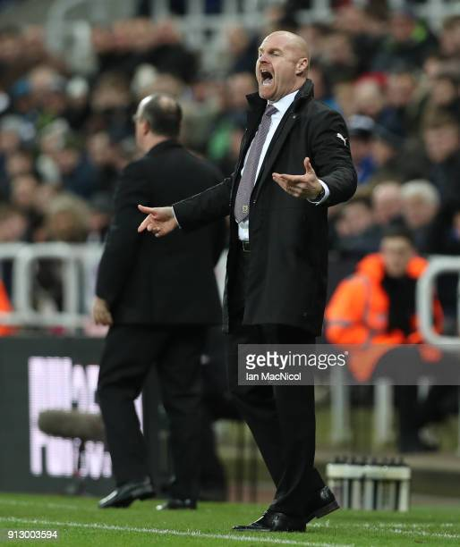 Burnley manager Sean Dyche is seen during the Premier League match between Newcastle United and Burnley at St James Park on January 31 2018 in...