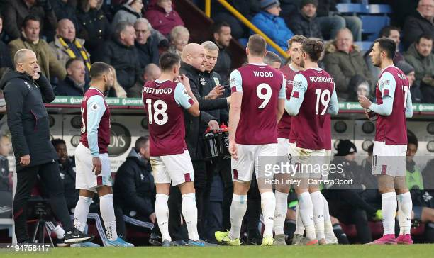 Burnley manager Sean Dyche issues instructions to his players during a break in play during the Premier League match between Burnley FC and Leicester...