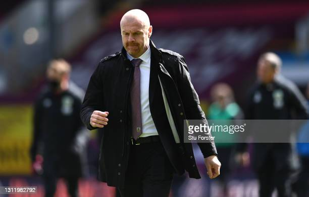 Burnley manager Sean Dyche leaves the field after the Premier League match between Burnley and Newcastle United at Turf Moor on April 11, 2021 in...