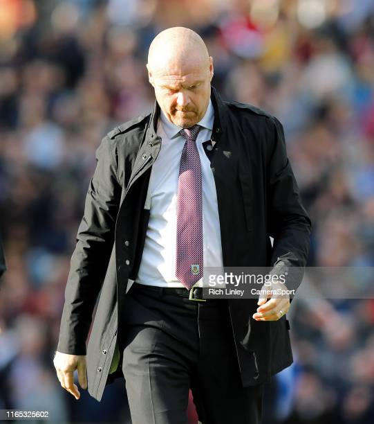 Burnley manager Sean Dyche looks dejected during the Premier League match between Burnley FC and Liverpool FC at Turf Moor on August 31 2019 in...
