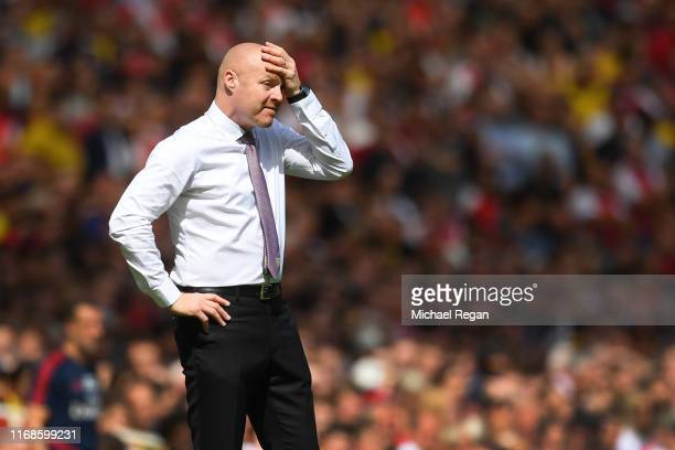 Burnley manager Sean Dyche looks dejected during the Premier League match between Arsenal FC and Burnley FC at Emirates Stadium on August 17, 2019 in...