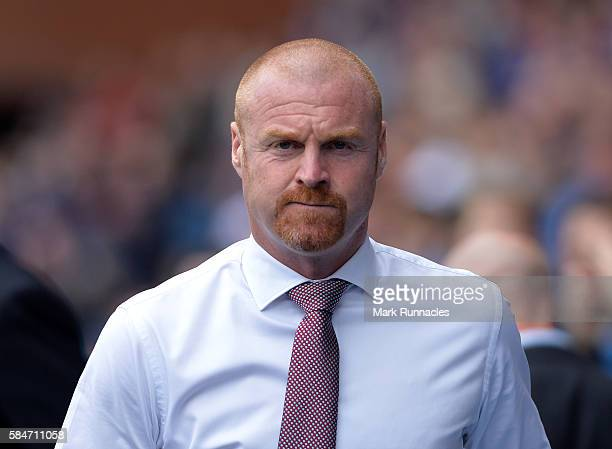 Burnley manager Sean Dyche looks on during a preseason friendly between Rangers FC and Burnley FC at Ibrox Stadium on July 30 2016 in Glasgow Scotland