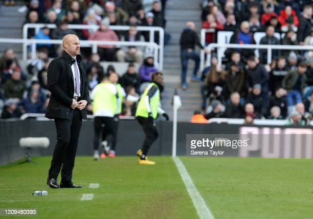 Burnley manager Sean Dyche looks on during the Premier League match between Newcastle United and Burnley FC at St James Park on February 29 2020 in...