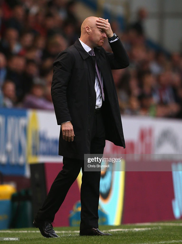 Burnley Manager Sean Dyche reacts during the Barclays Premier League match between Burnley and Sunderland at Turf Moor on September 20, 2014 in Burnley, England.