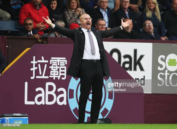 Burnley manager Sean Dyche reacts during the Premier League match between Burnley FC and Watford FC at Turf Moor on August 19 2018 in Burnley United...