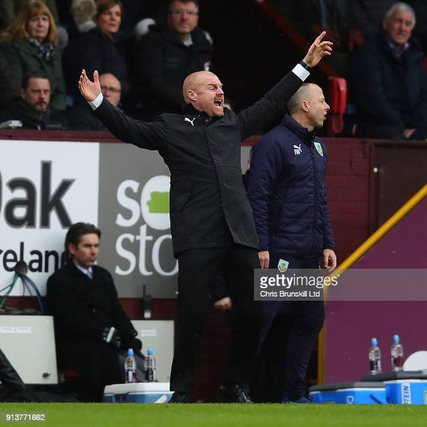 Burnley manager Sean Dyche reacts during the Premier League match between Burnley and Manchester City at Turf Moor on February 3 2018 in Burnley...