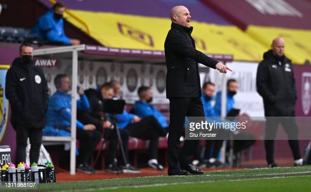 Burnley manager Sean Dyche reacts on the touchline during the Premier League match between Burnley and Newcastle United at Turf Moor on April 11,...