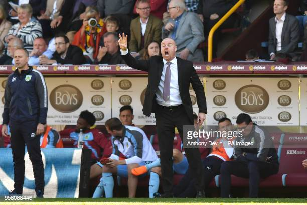 Burnley manager Sean Dyche reacts on the touchline during the Premier League match at Turf Moor Burnley