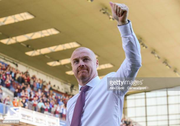 Burnley manager Sean Dyche salutes the fans after the match during the Premier League match between Burnley and AFC Bournemouth at Turf Moor on May...