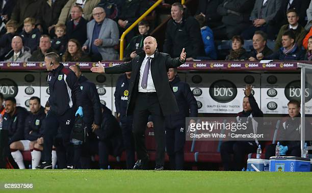 Burnley manager Sean Dyche shouts instructions to his team from the dugout during the Premier League match between Burnley and AFC Bournemouth at...