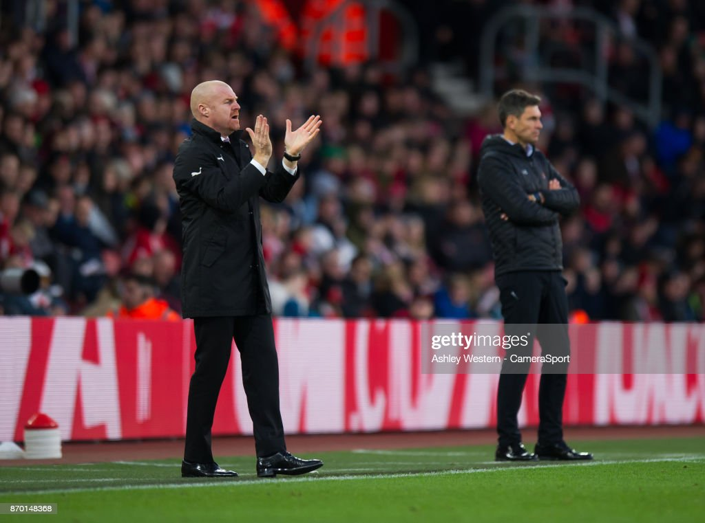 Burnley manager Sean Dyche shouts instructions to his team from the technical area during the Premier League match between Southampton and Burnley at St Mary's Stadium on November 4, 2017 in Southampton, England.