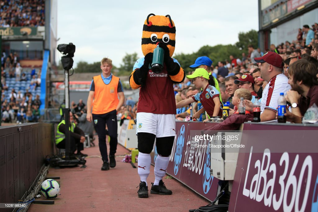 Burnley mascot Bertie Bee drinks from a flask before the Premier League match between Burnley and Manchester United at Turf Moor on September 2, 2018 in Burnley, England.