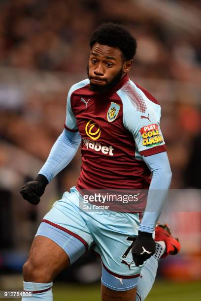 Burnley player Georges-Kevin N'Koudou in action during the Premier League match between Newcastle United and Burnley at St. James Park on January 31,...
