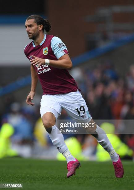 Burnley player Jay Rodriguez in action during the Premier League match between Burnley FC and Southampton FC at Turf Moor on August 10, 2019 in...
