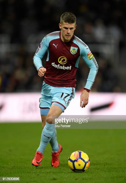 Burnley player Johann Berg Gudmundsson in action during the Premier League match between Newcastle United and Burnley at St James Park on January 31...