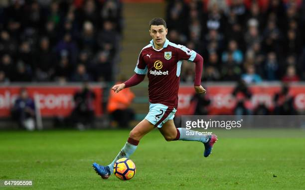 Burnley player Matthew Lowton in action during the Premier League match between Swansea City and Burnley at Liberty Stadium on March 4 2017 in...