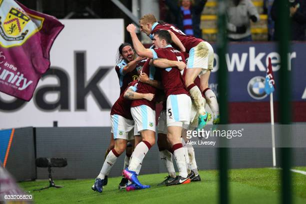 Burnley players celebrate their first goal by Sam Vokes during the Premier League match between Burnley and Leicester City at Turf Moor on January 31...