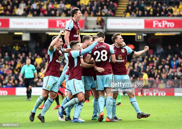 Burnley players celebrate their side's second goal during the Premier League match between Watford and Burnley at Vicarage Road on April 7 2018 in...