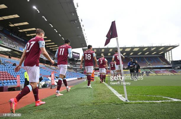 Burnley players come out of the tunnel prior to the Premier League match between Burnley and Leeds United at Turf Moor on May 15, 2021 in Burnley,...