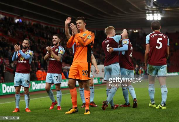 Burnley players show appreciation to the fans following their win at the Premier League match between Southampton and Burnley at St Mary's Stadium on...