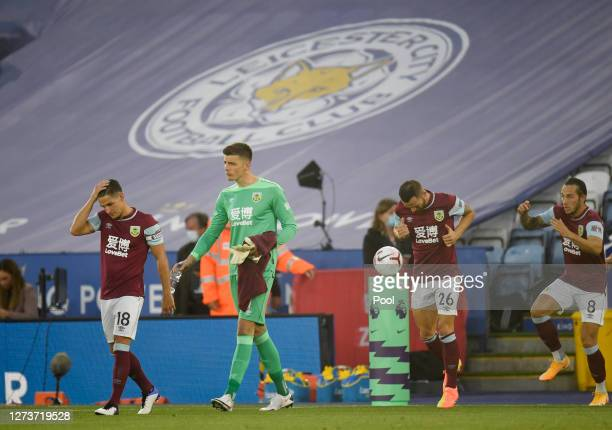 Burnley players walk out to the pitch prior to the Premier League match between Leicester City and Burnley at The King Power Stadium on September 20...