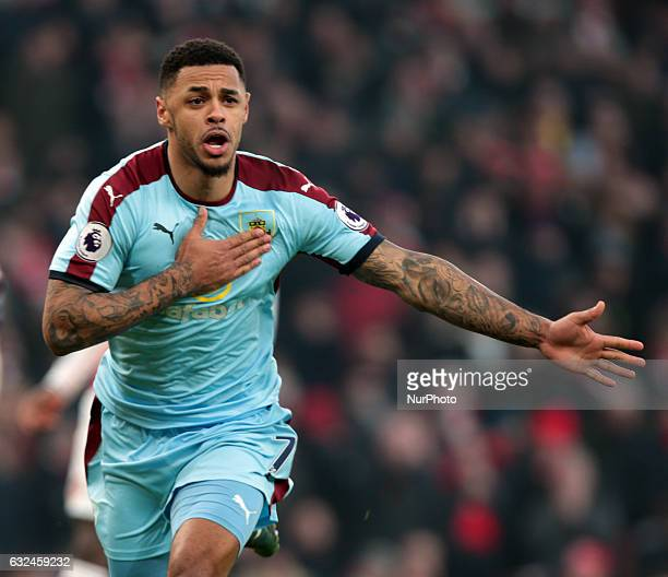 Burnley's Andre Gray elaborates his goal during the Premier League match between Arsenal and Burnley at The Emirates Stadium London on 22 Jan 2017