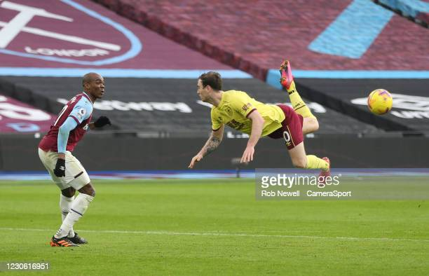 Burnley's Ashley Barnes attempts a scorpion kick during the Premier League match between West Ham United and Burnley at London Stadium on January 16,...