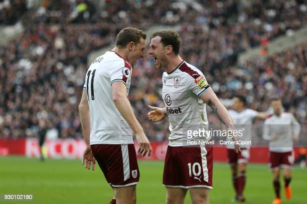 Burnley's Ashley Barnes celebrates scoring his side's first goal with Chris Wood during the Premier League match between West Ham United and Burnley...