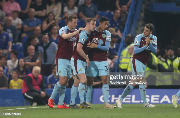 Burnley's Ashley Barnes celebrates scoring his side's second goal during the Premier League match between Chelsea FC and Burnley FC at Stamford...