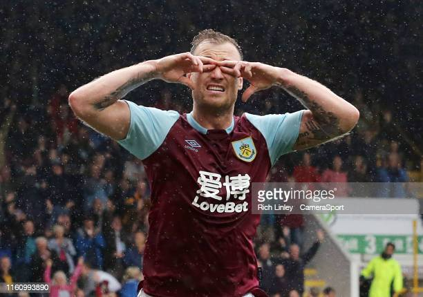 Burnley's Ashley Barnes celebrates scoring his side's second goal during the Premier League match between Burnley FC and Southampton FC at Turf Moor...