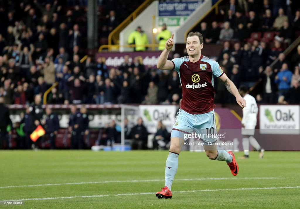 Burnley's Ashley Barnes celebrates scoring his side's second goal during the Premier League match between Burnley and Swansea City at Turf Moor on November 18, 2017 in Burnley, England.