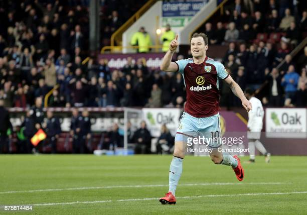 Burnley's Ashley Barnes celebrates scoring his side's second goal during the Premier League match between Burnley and Swansea City at Turf Moor on...