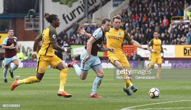 Burnley's Ashley Barnes drives into the penalty area but is is fouled by Brighton Hove Albion's Dale Stephens during the Premier League match between...