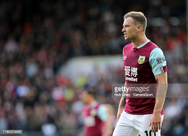 Burnley's Ashley Barnes during the Premier League match between Burnley FC and Liverpool FC at Turf Moor on August 31 2019 in Burnley United Kingdom