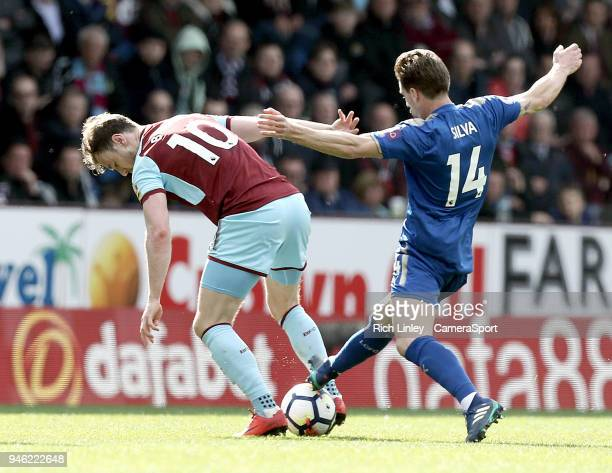Burnley's Ashley Barnes is tackled by Leicester City's Adrien Silva during the Premier League match between Burnley and Leicester City at Turf Moor...