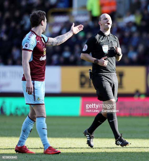 Burnley's Ashley Barnes remonstrates with referee Bobby Madley during the Premier League match between Burnley and Southampton at Turf Moor on...