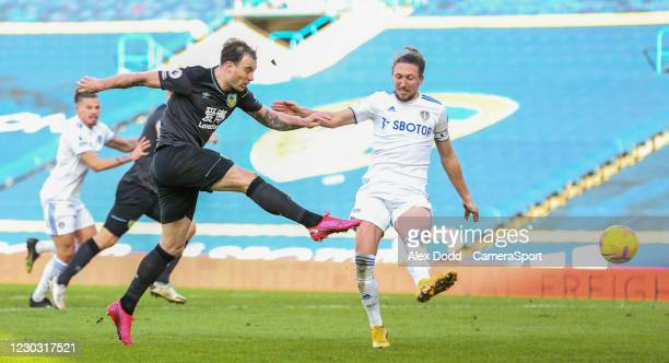 Burnley's Ashley Barnes shoots at goal during the Premier League match between Leeds United and Burnley at Elland Road on December 27, 2020 in Leeds,...