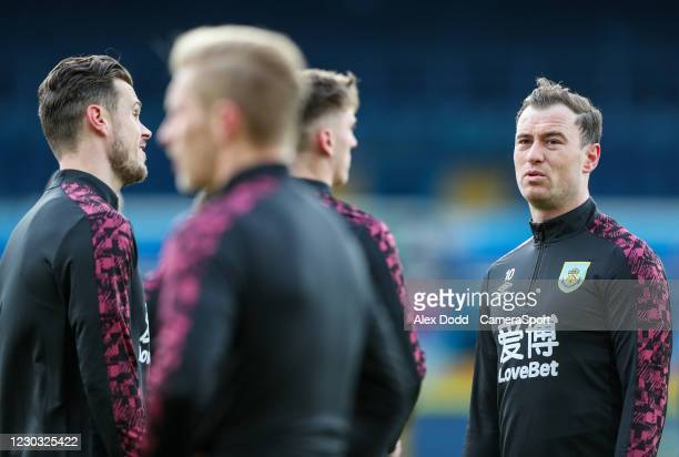 Burnley's Ashley Barnes speaks to teammates during the pre-match warm-up during the Premier League match between Leeds United and Burnley at Elland...