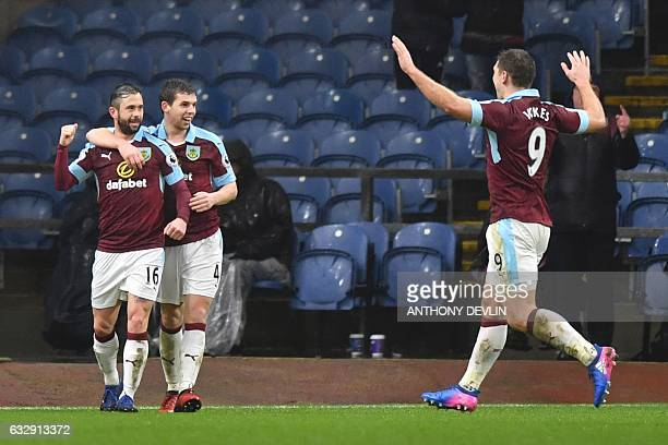 Burnley's Belgian midfielder Steven Defour celebrates scoring their second goal during the English FA Cup fourth round football match between Burnley...