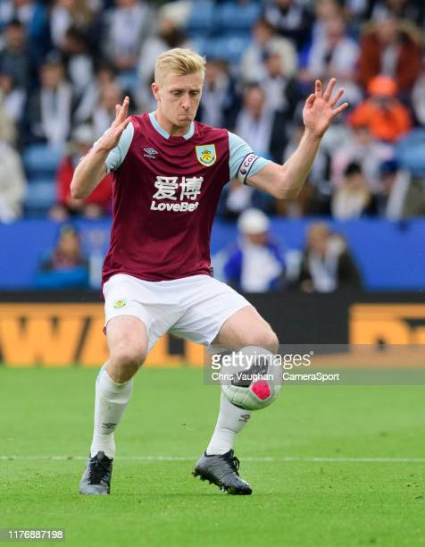 Burnley's Ben Mee during the Premier League match between Leicester City and Burnley FC at The King Power Stadium on October 19 2019 in Leicester...